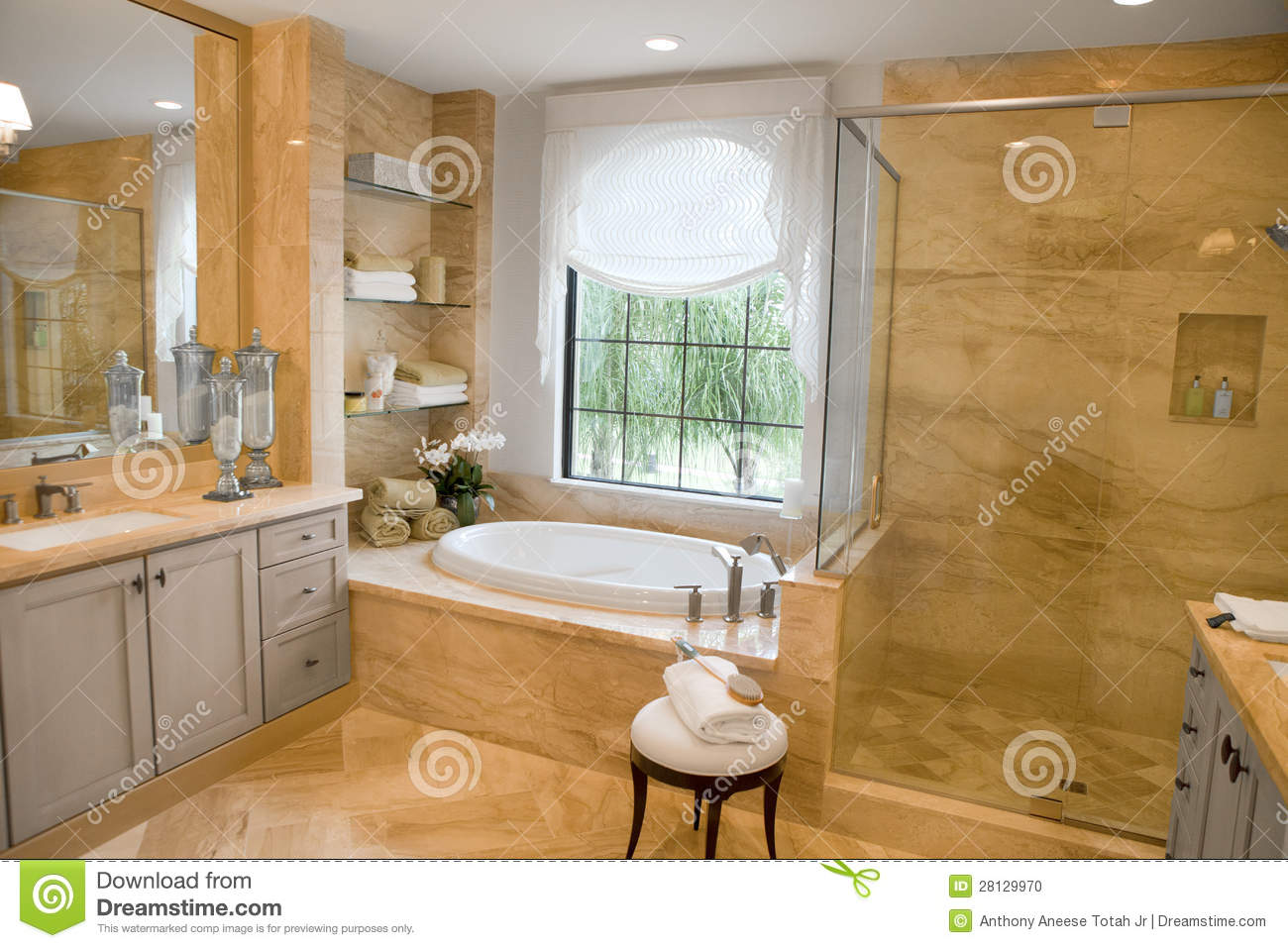 Large Upscale Master Bathroom Stock Photo Image 28129970