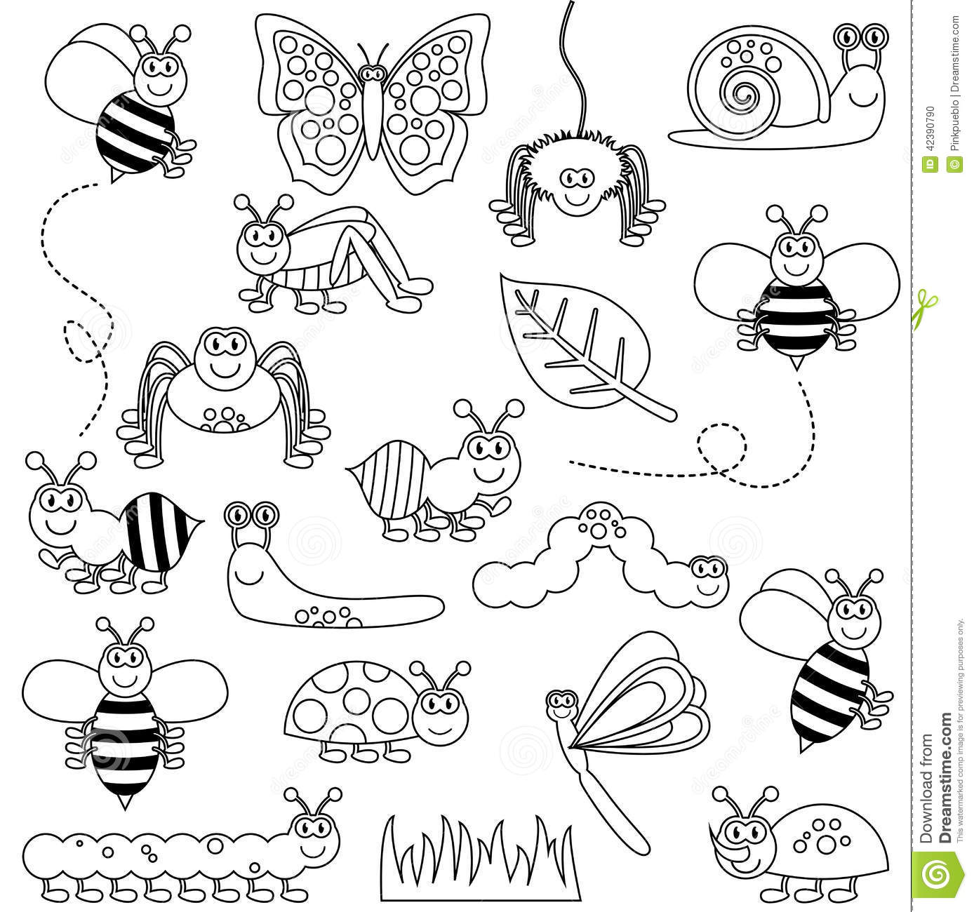 Large Vector Set Of Cute Cartoon Bugs Line Art Stock