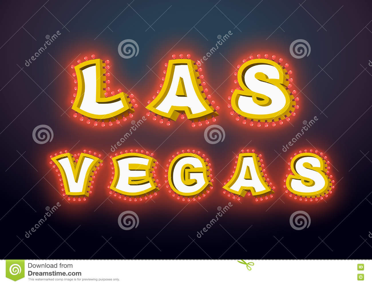 Las Vegas Sign With Glowing Lights Retro Label With Light