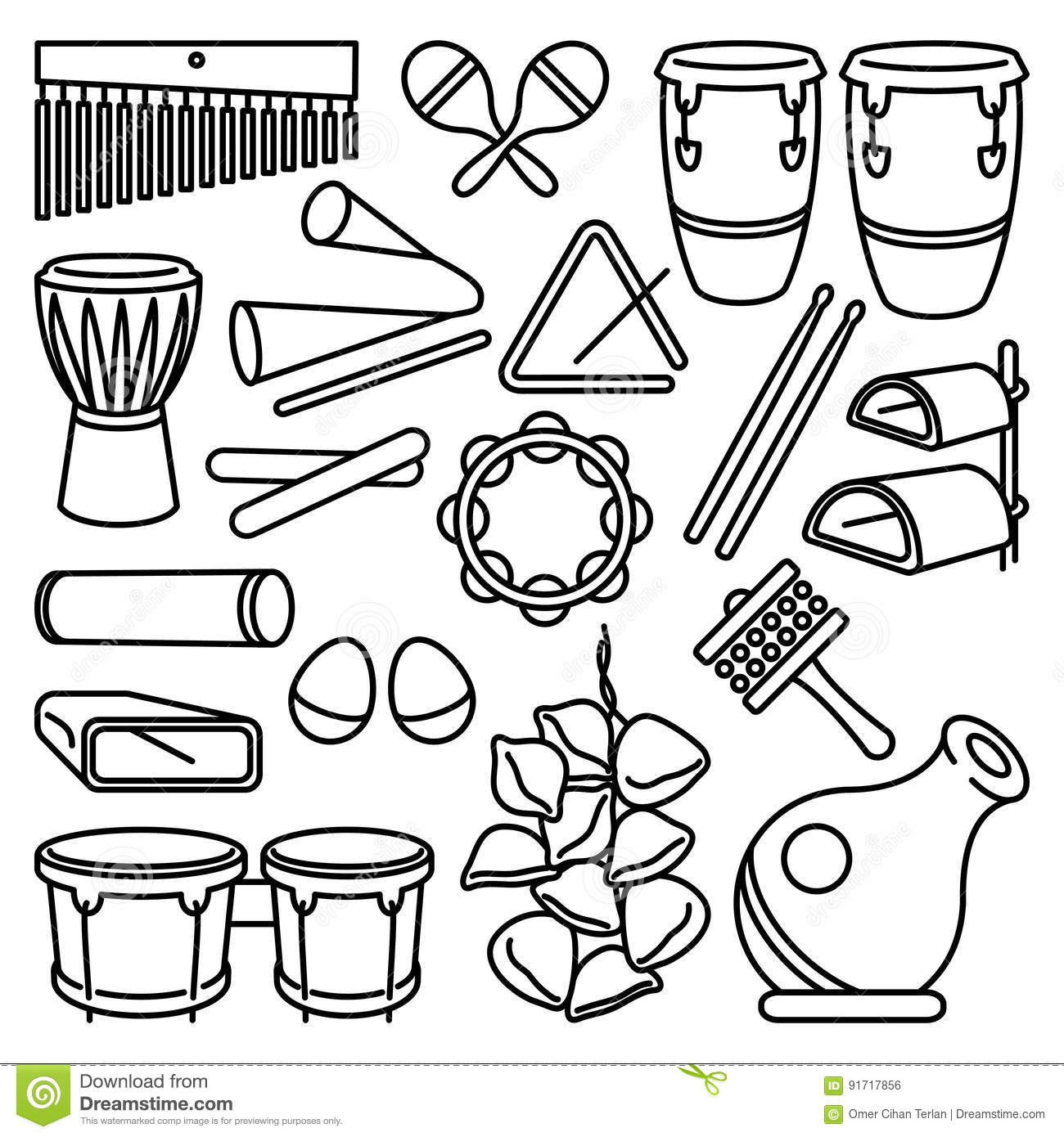 Latin Percussion Instruments Icon Set Stock Vector