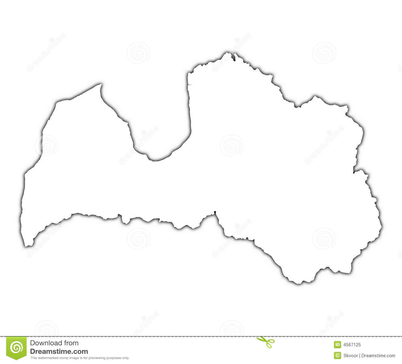 Latvia Outline Map Stock Illustration Image Of Clipping