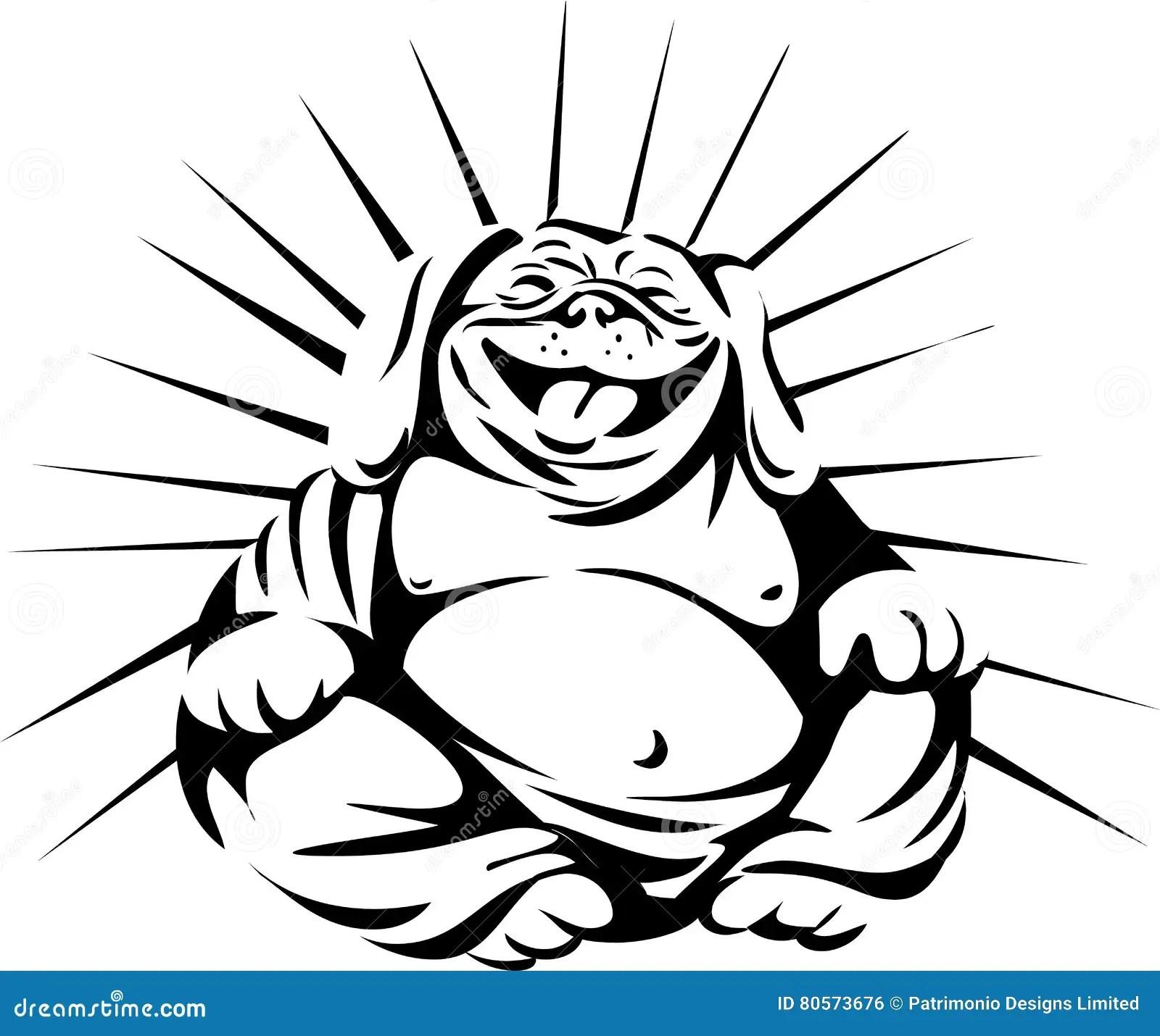 Laughing Bulldog Buddha Sitting Cartoon Vector