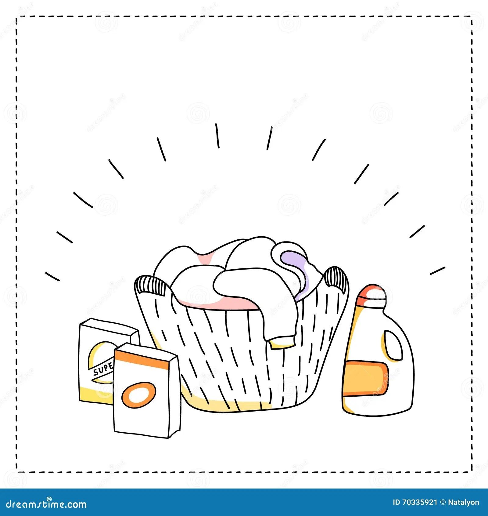 Cartoon Laundry Set Vector Vector Illustration