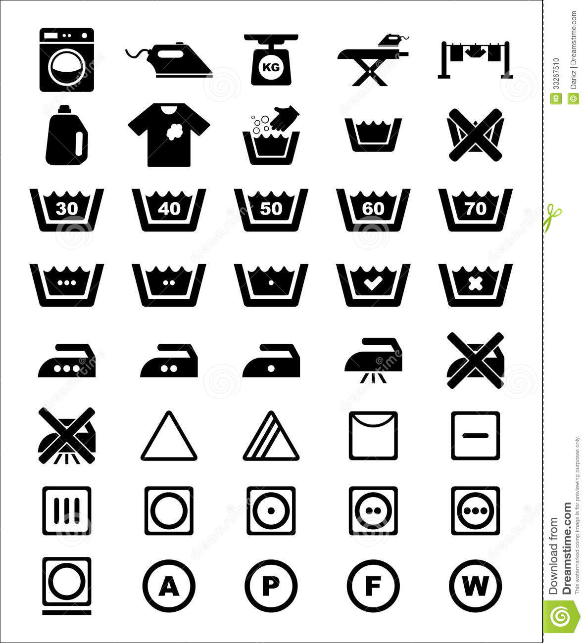 Laundry Icon Set Stock Vector Image Of Clothespin Board