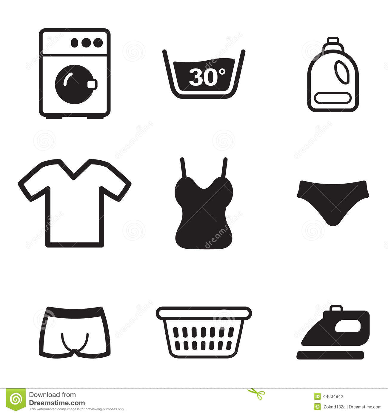 Laundry Icons Stock Vector Illustration Of Iron Electric