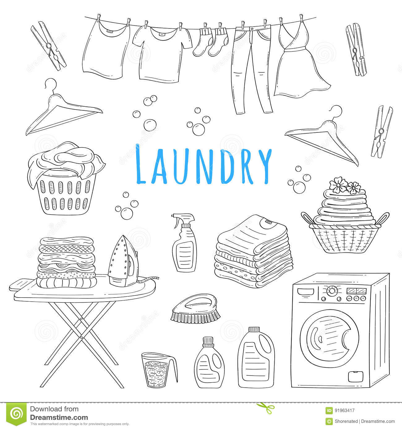 Laundry Service Drawing Vector Illustration