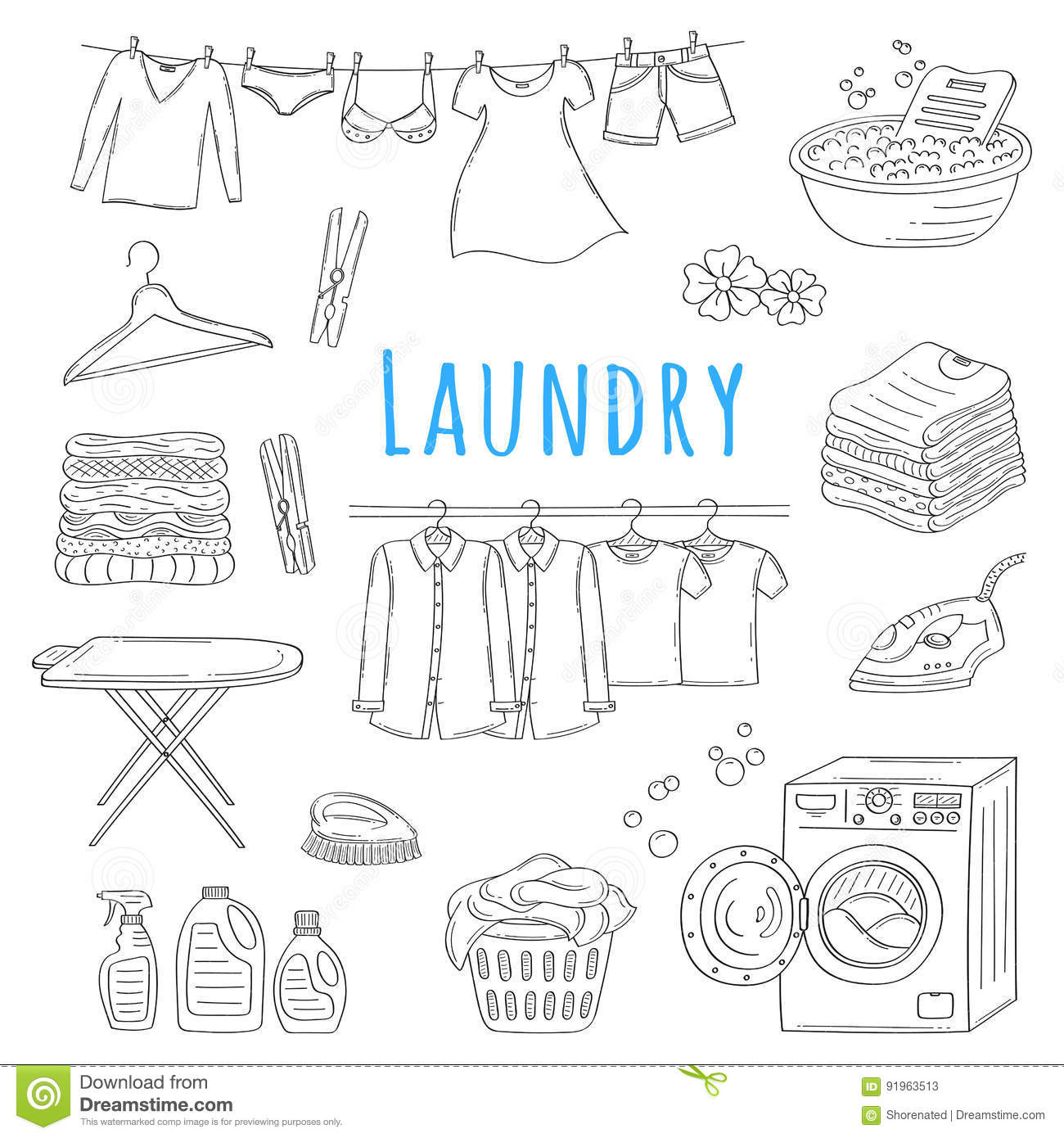 Laundry Service Hand Drawn Doodle Icons Set Vector