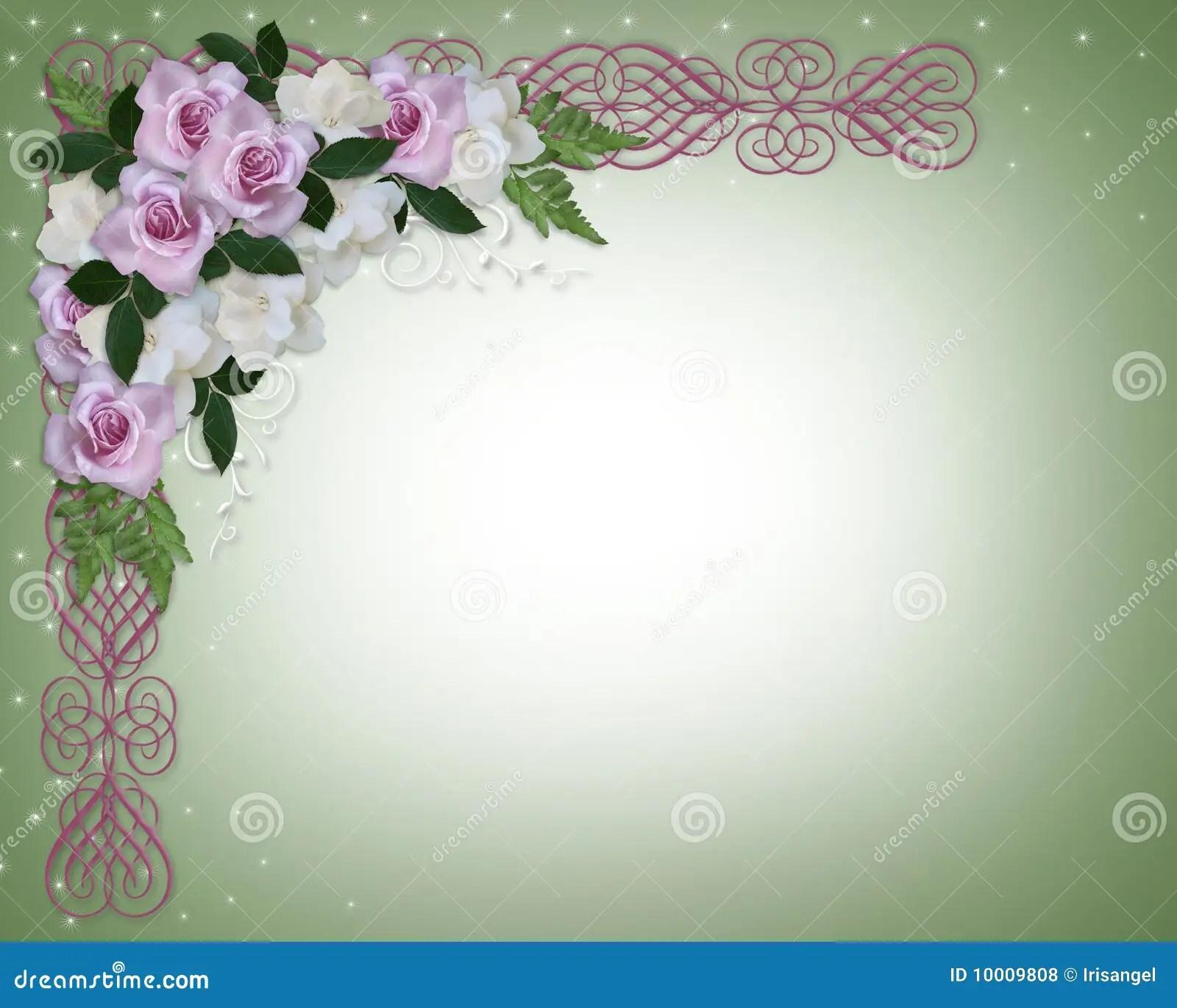Lavender Roses Wedding Invitation Stock Illustration