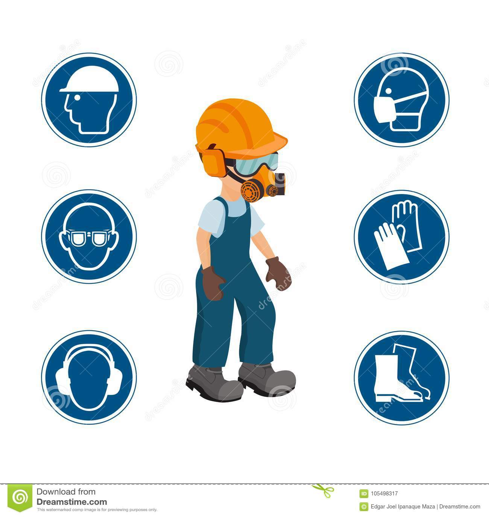 Lavoratore Con Le Suoi Dispositivi Di Protezione