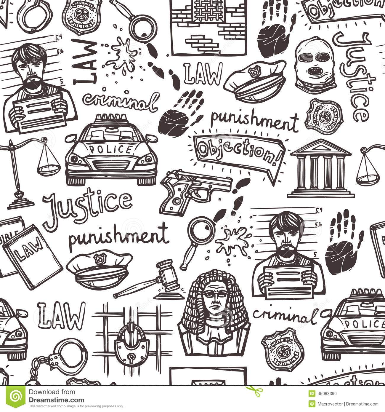 Law Icon Sketch Seamless Pattern Stock Vector