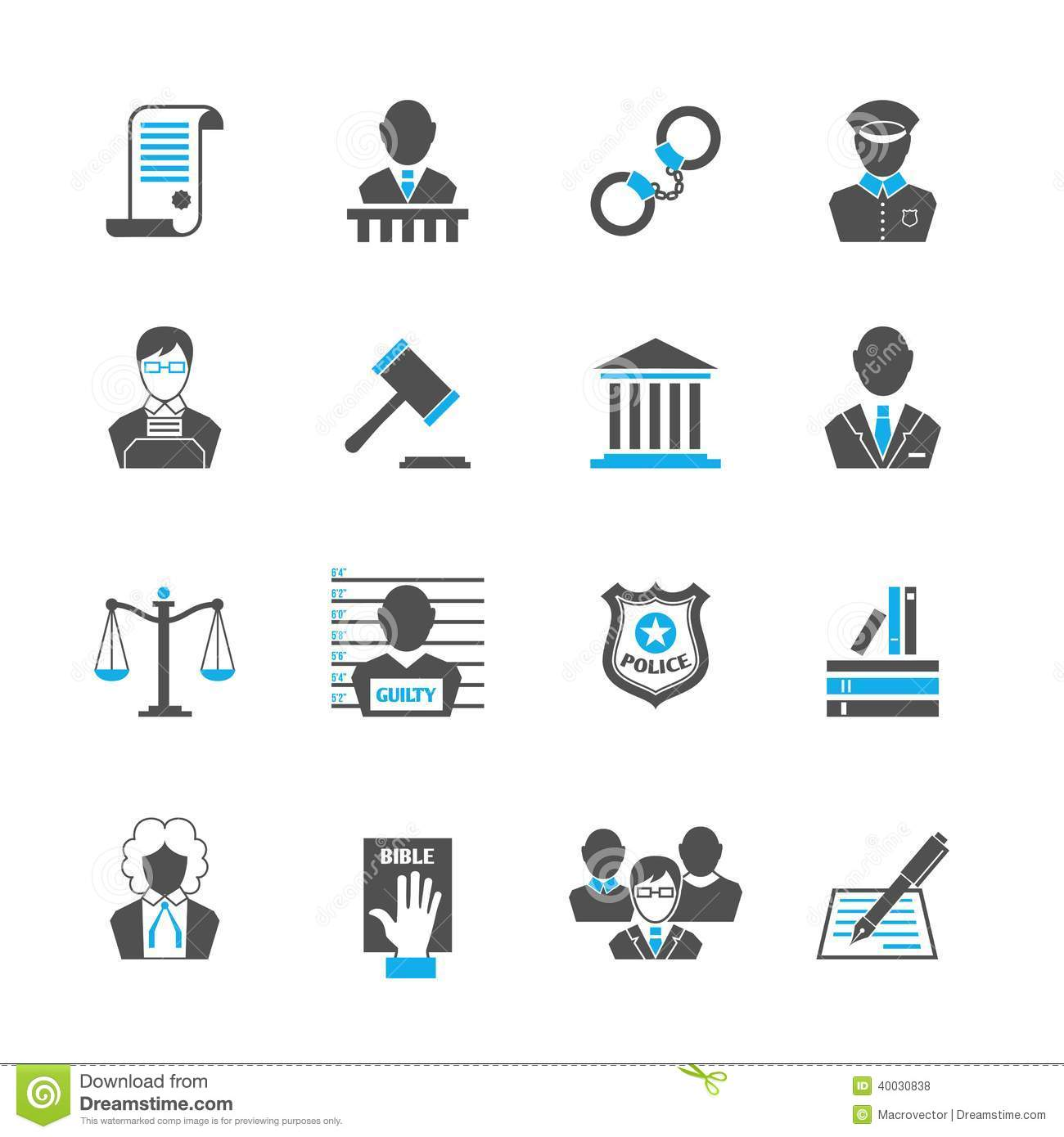 Law Icons Set Stock Vector Illustration Of Crime Jury