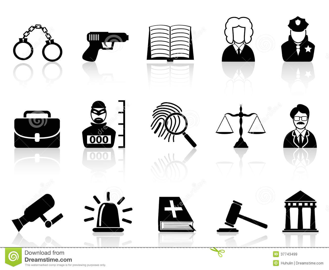 Law And Justice Icons Set Royalty Free Stock Images