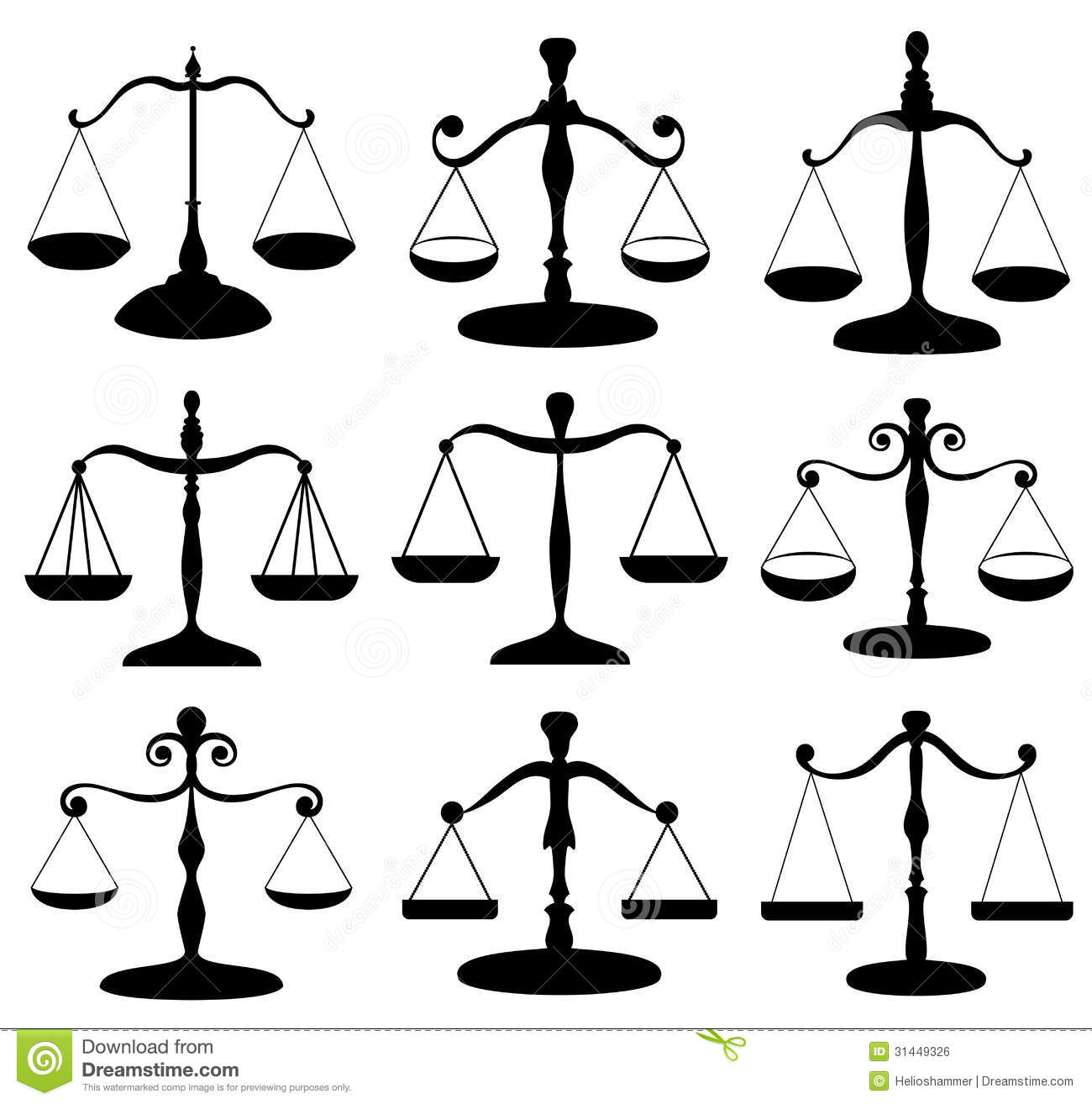 Law Scale Symbol Set Royalty Free Stock Image