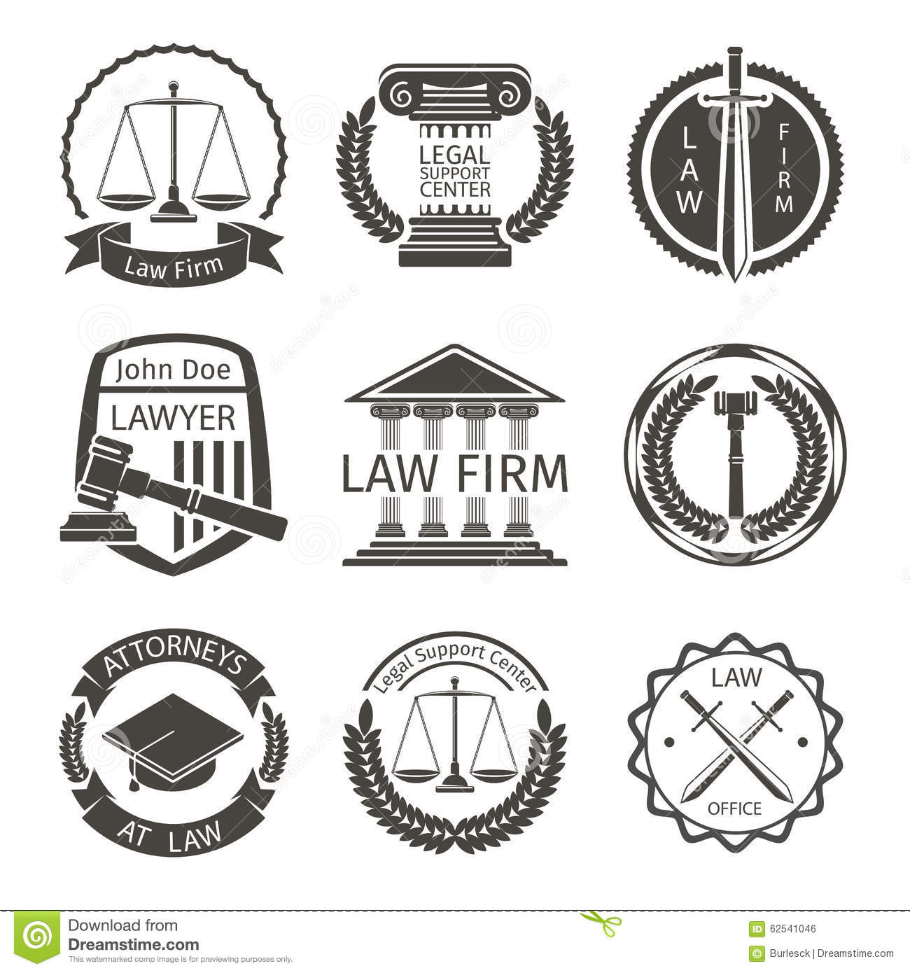 Lawyer And Law Office Logo Emblem Labels Vector Stock