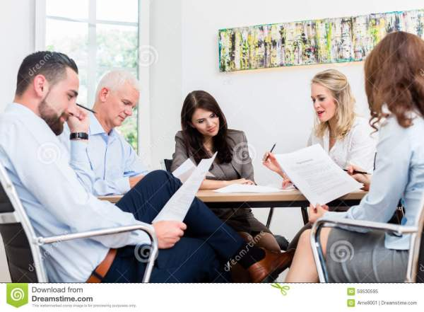 Lawyers Having Team Meeting In Law Firm Stock Image ...