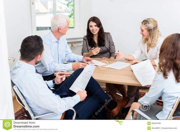 Lawyers Having Team Meeting In Law Firm Stock Photo ...