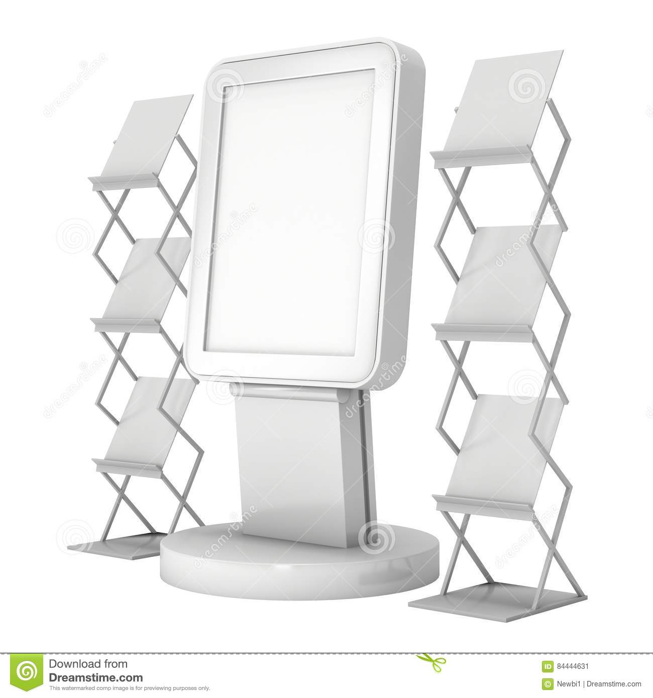 lcd display stand and magazine rack stock image image of isolated kiosk 84444631