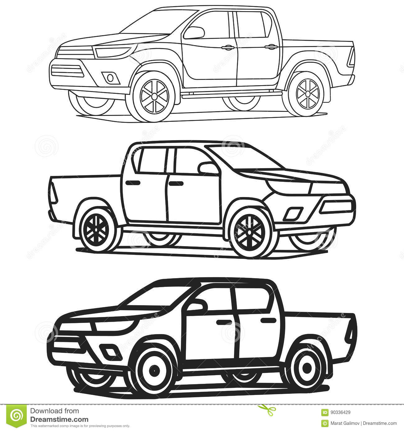 Le Contour De Camion Pick Up A Place Sur L Illustration