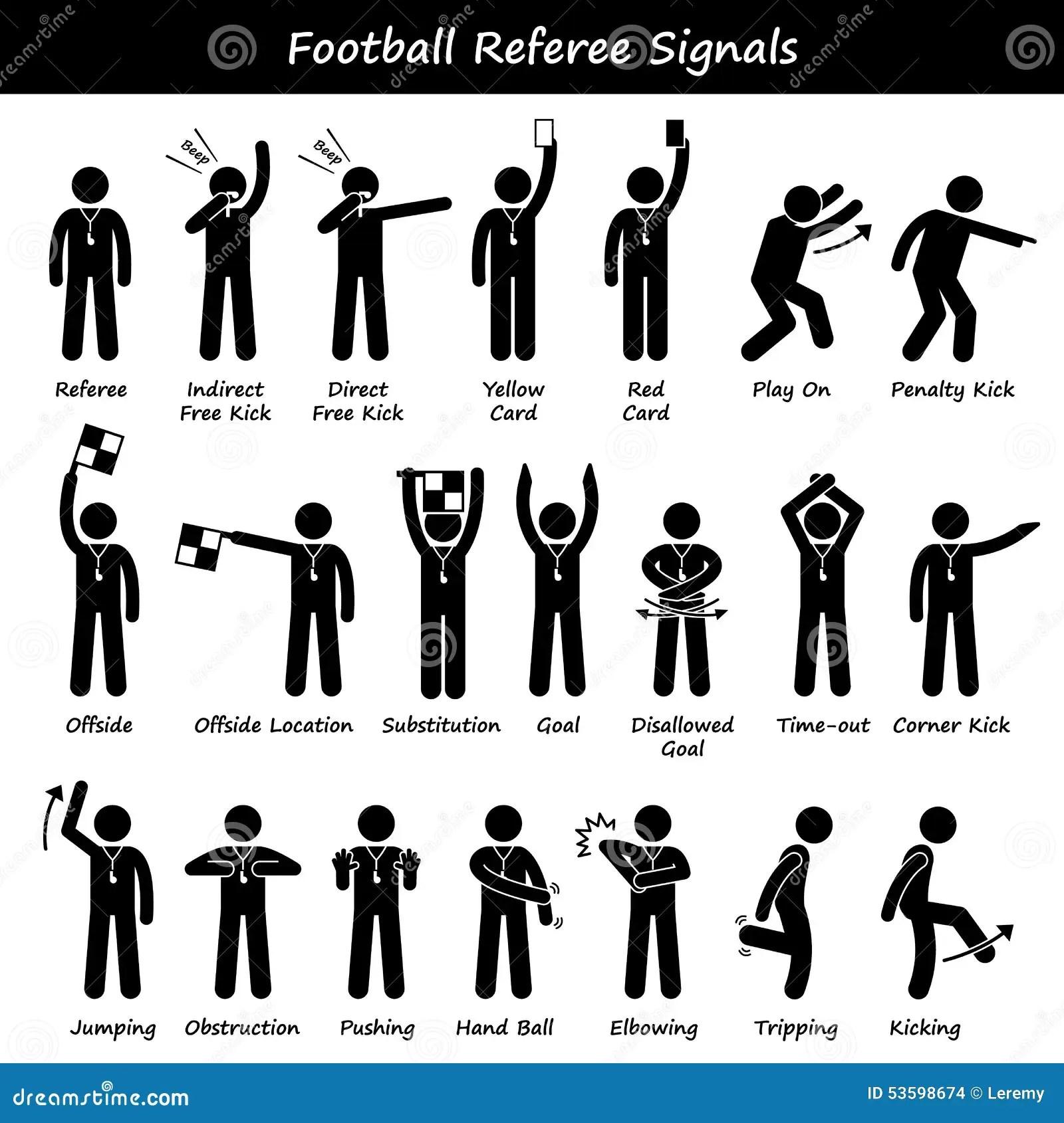 Le Football Du Football Arbitre Des Signaux De Main De