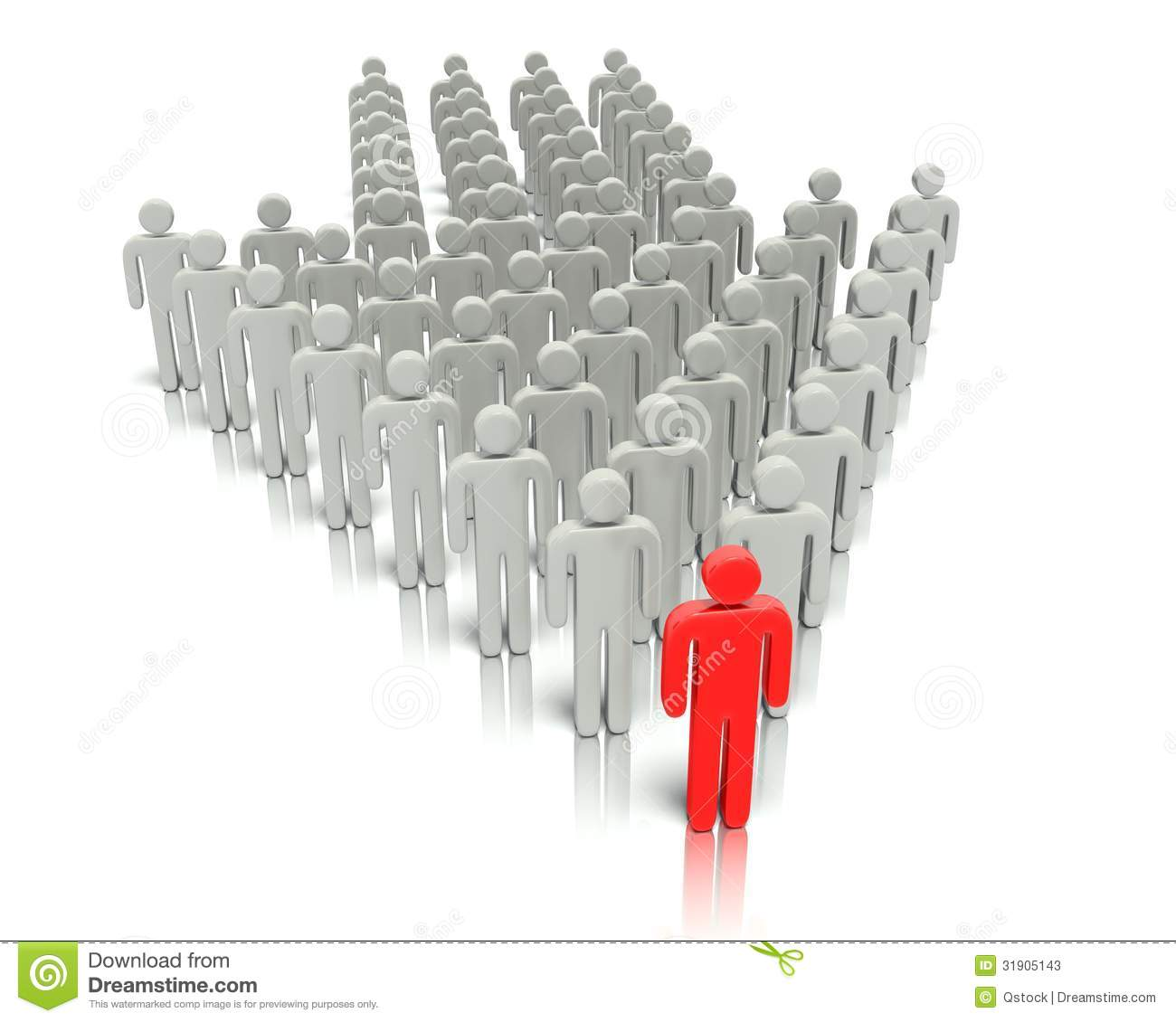 Leader In Front Of A Group People Stock Illustration