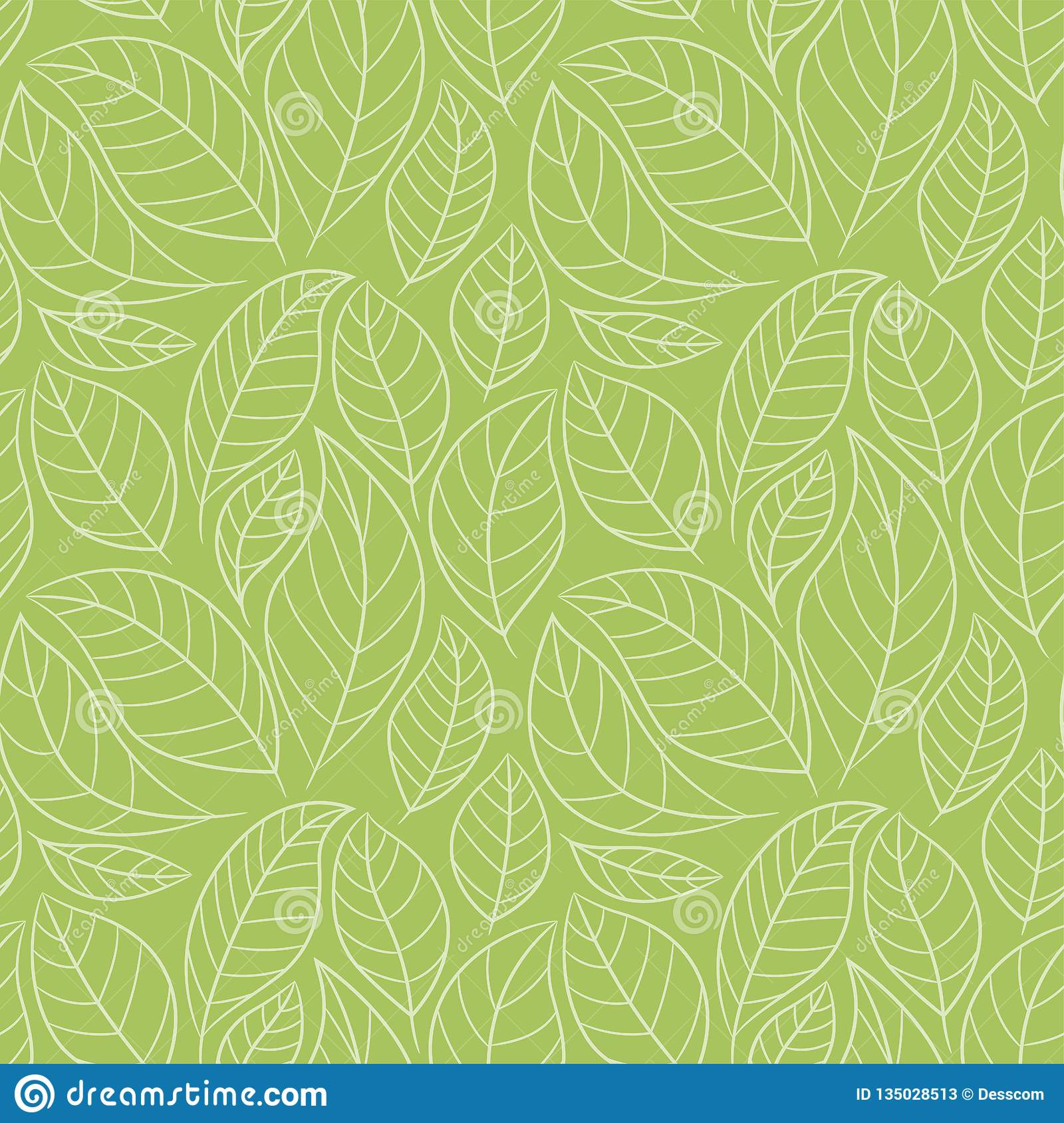 Leaf Seamless Pattern Abstract Floral Background With