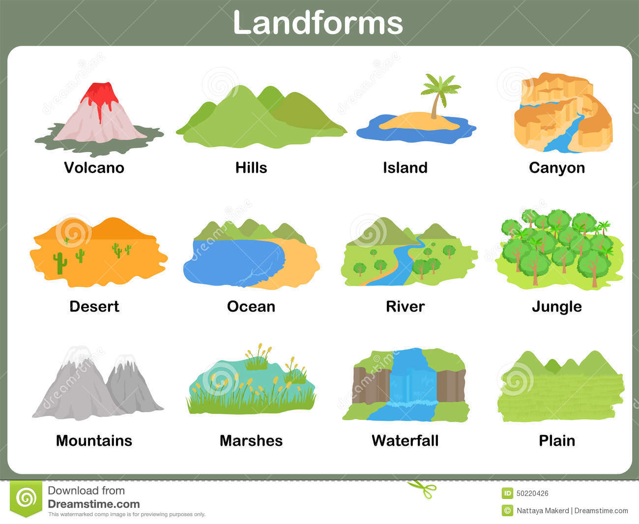 Leaning Landforms For Kids Stock Vector