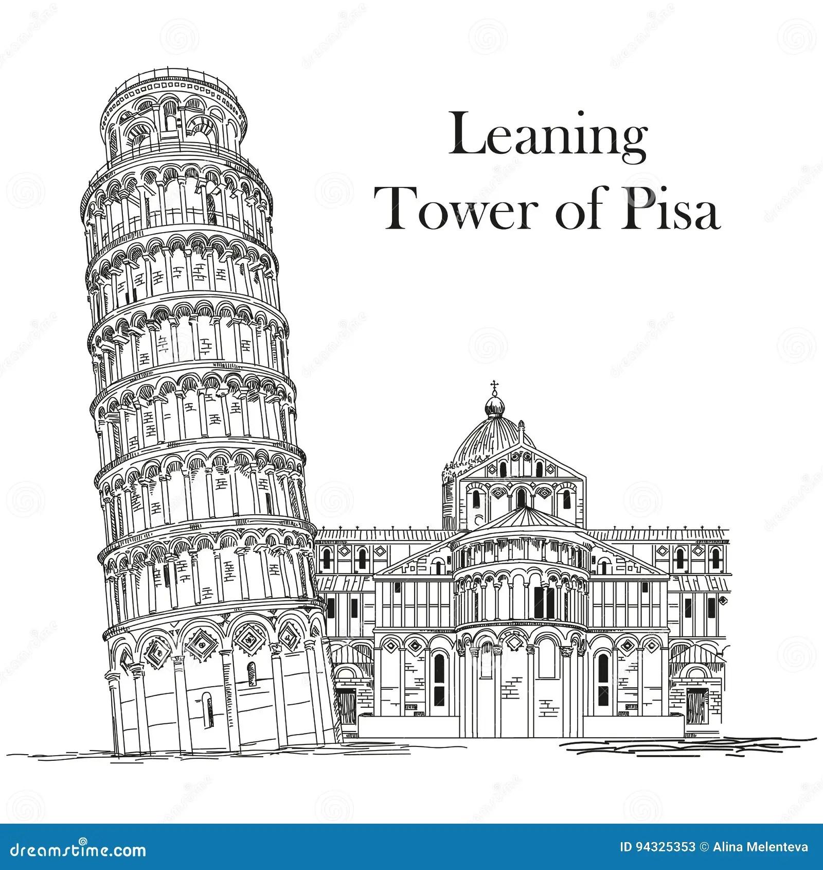 Leaning Tower Pisa Black White Stock Illustrations 71