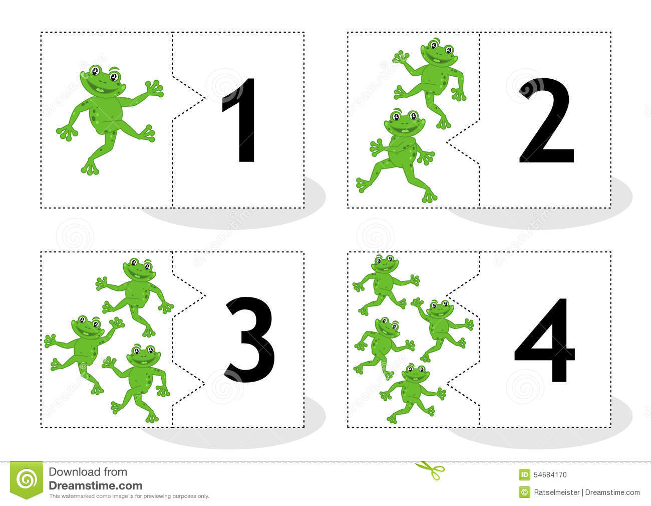 Learn Counting Puzzle Cards With Frogs Numbers 1