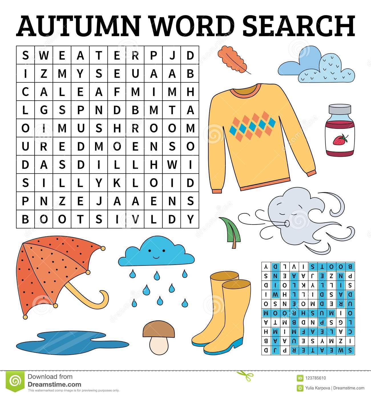 Learn English With An Autumn Word Search Game For Kids