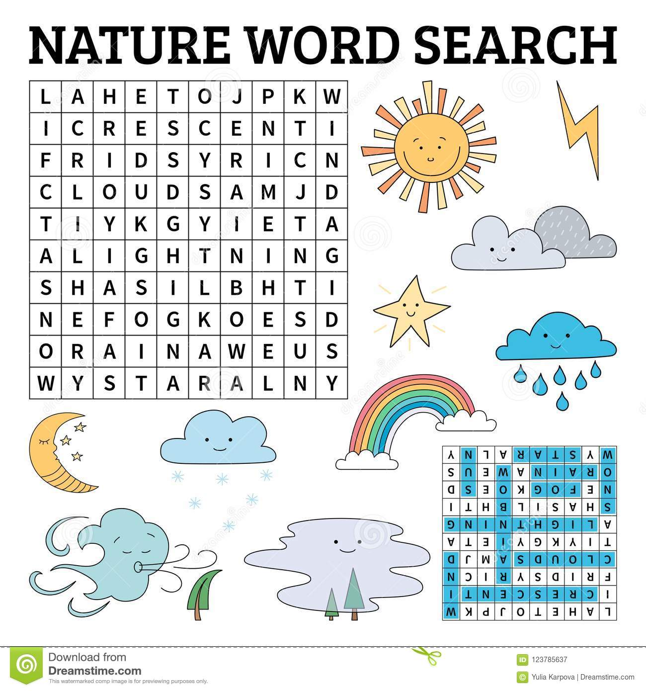 Learn English With A Nature Word Search Game For Kids