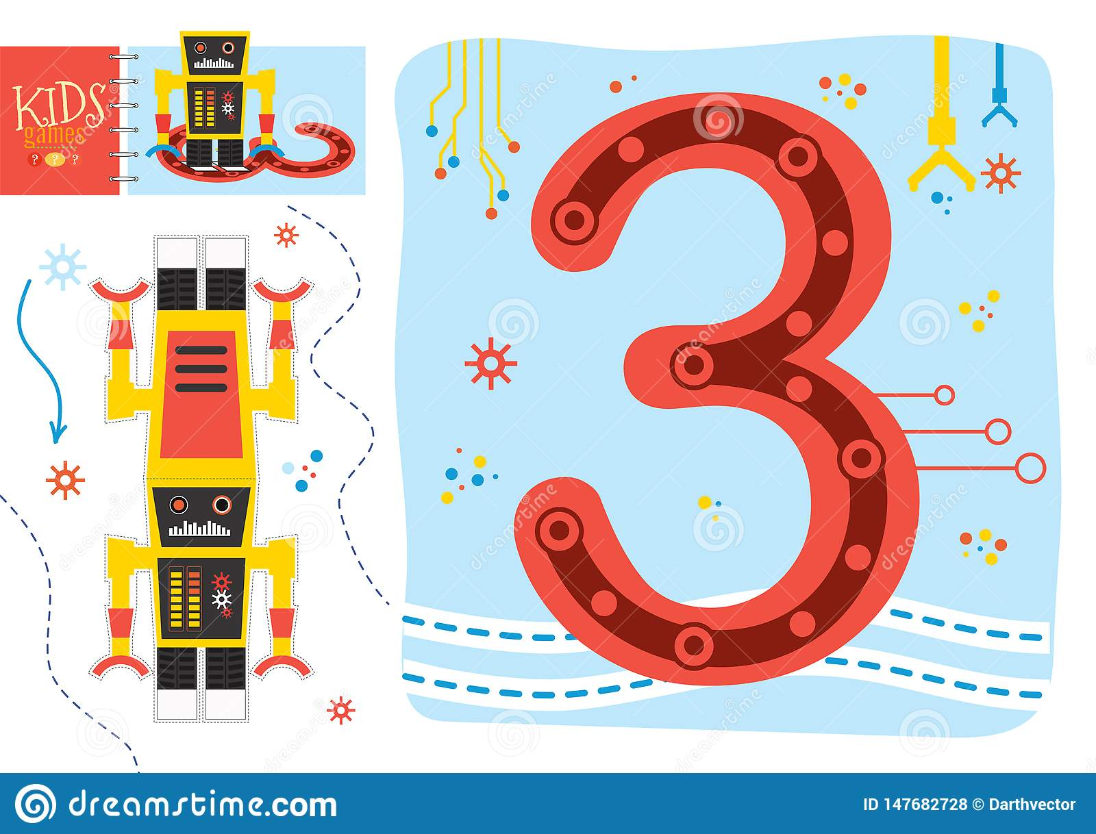 Learn How To Write Number 3 For Preschool Kids Vector