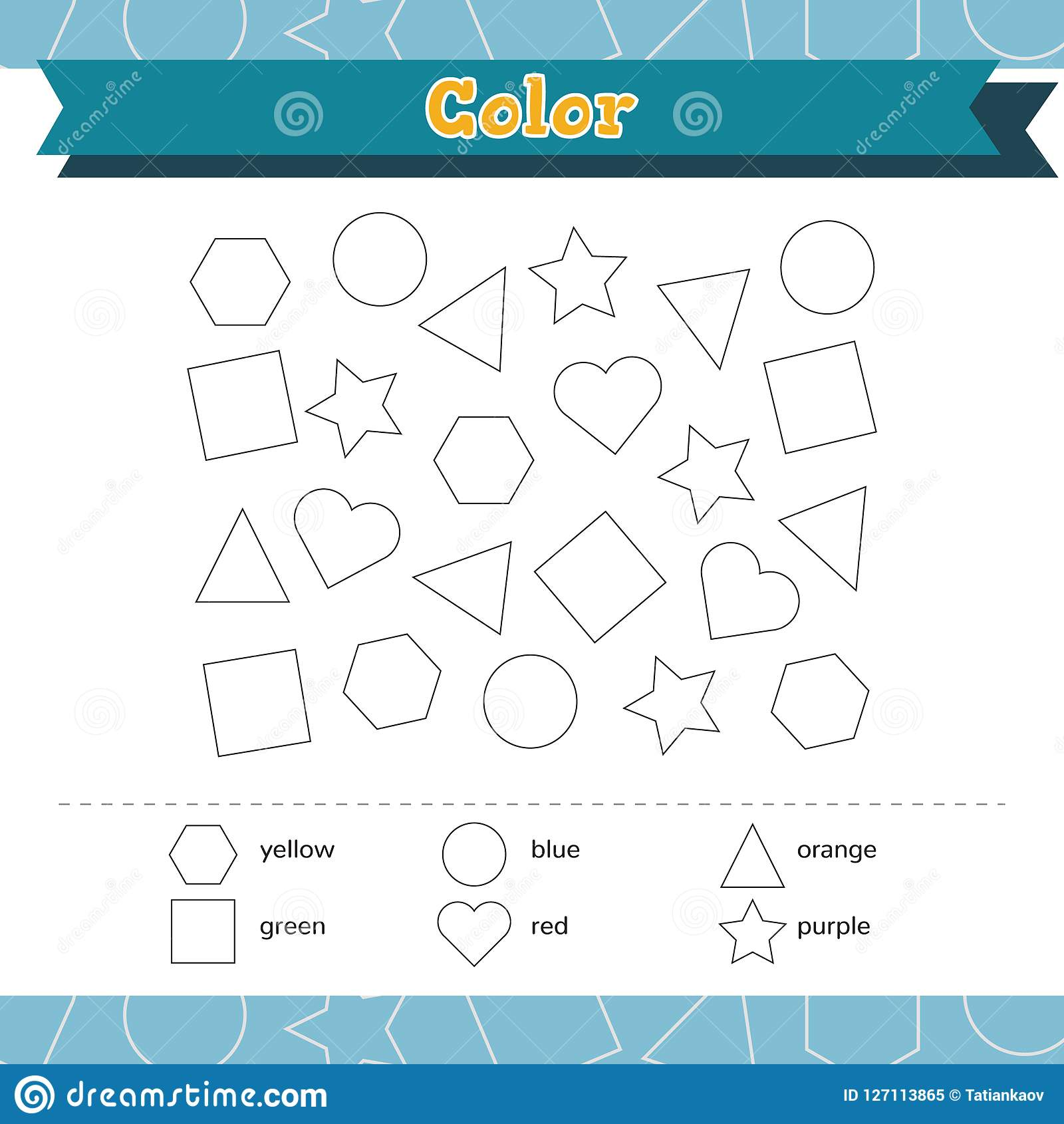 Learn Shapes And Geometric Figures Color Preschool Or Kindergarten Worksheet Vector