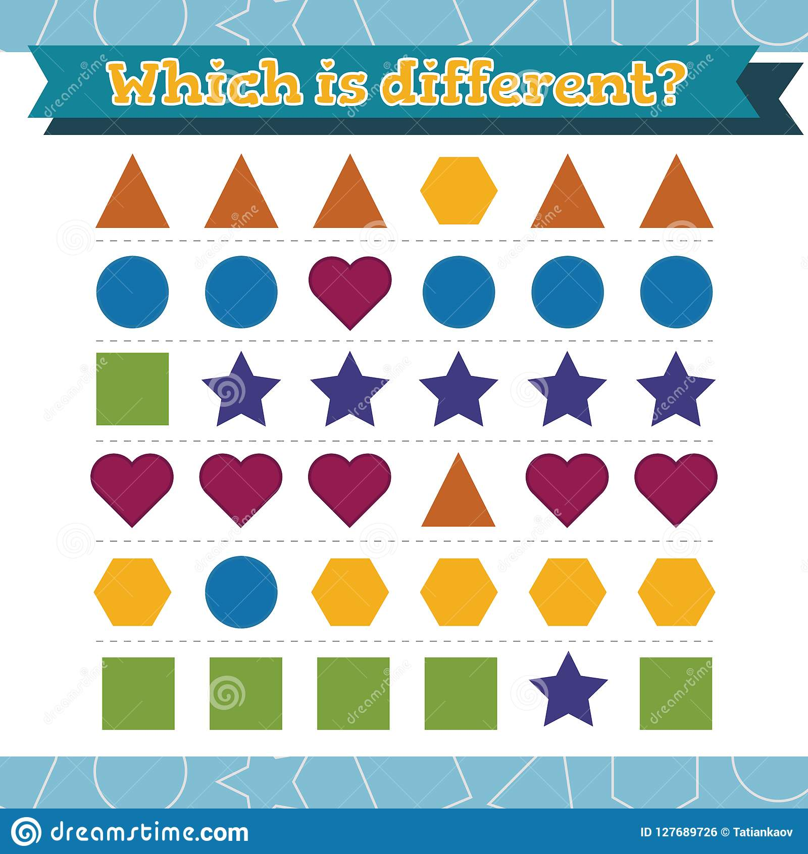 Learn Shapes And Geometric Figures Which Is Different Preschool Or Kindergarten Worksheet