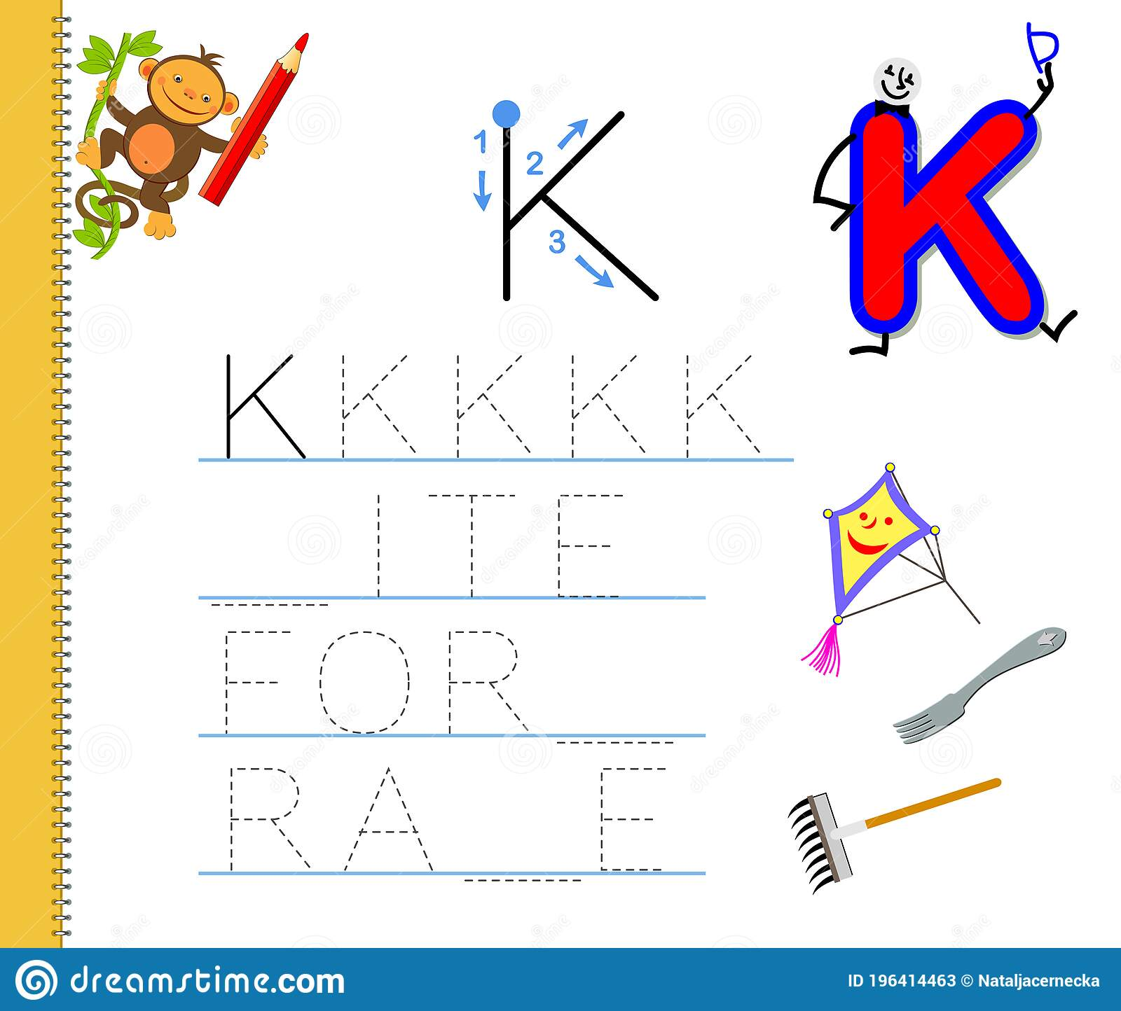 Learn To Trace Letter K Study English Words Worksheet