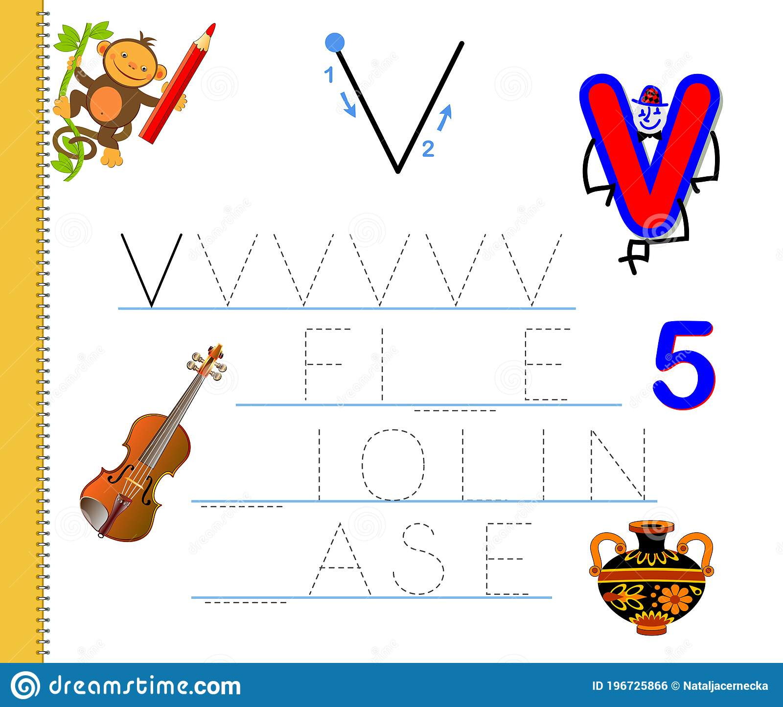Learn To Trace Letter V Study English Words Worksheet