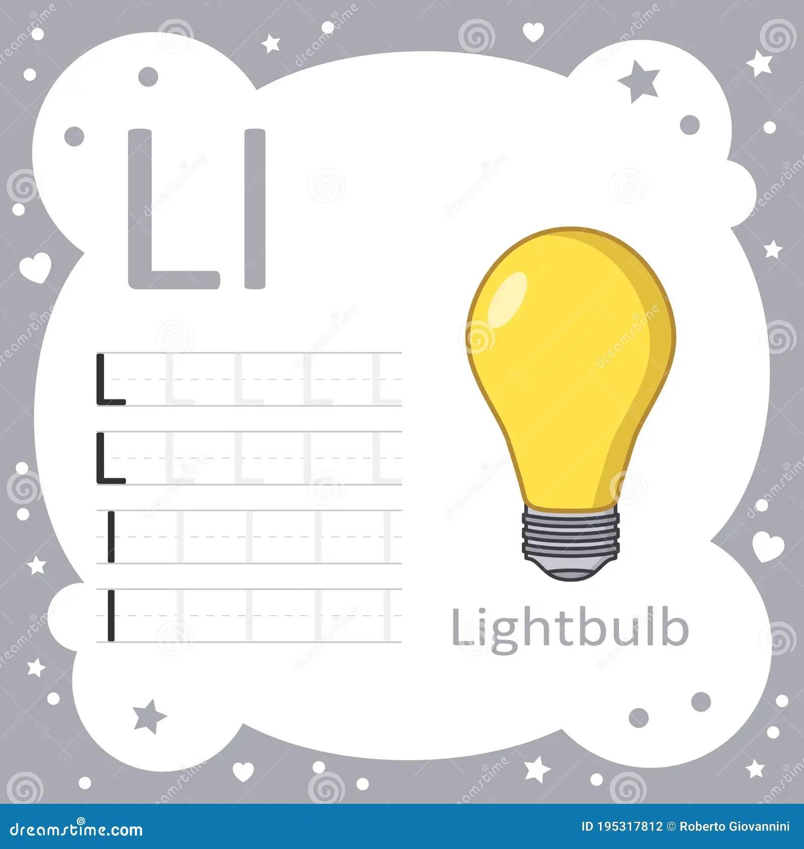 Learning Alphabet Letters Light Bulb Stock Vector