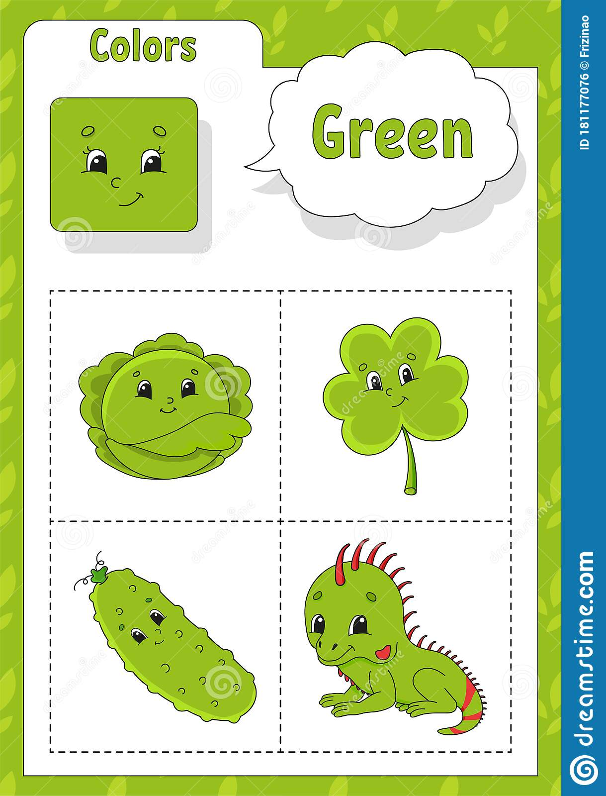 Learning Colors Green Color Flashcard For Kids Cute