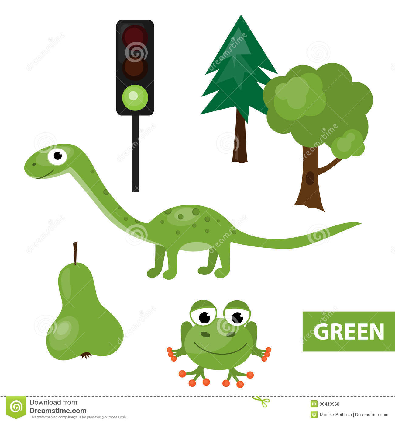 Learning Colors Green Stock Vector Illustration Of