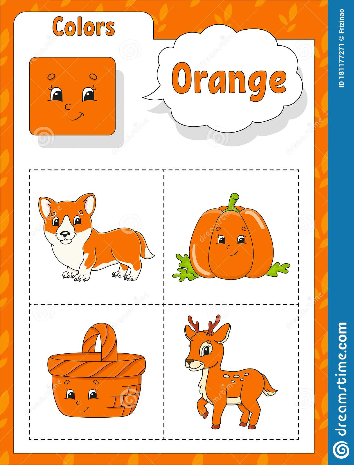 Learning Colors Orange Color Flashcard For Kids Cute