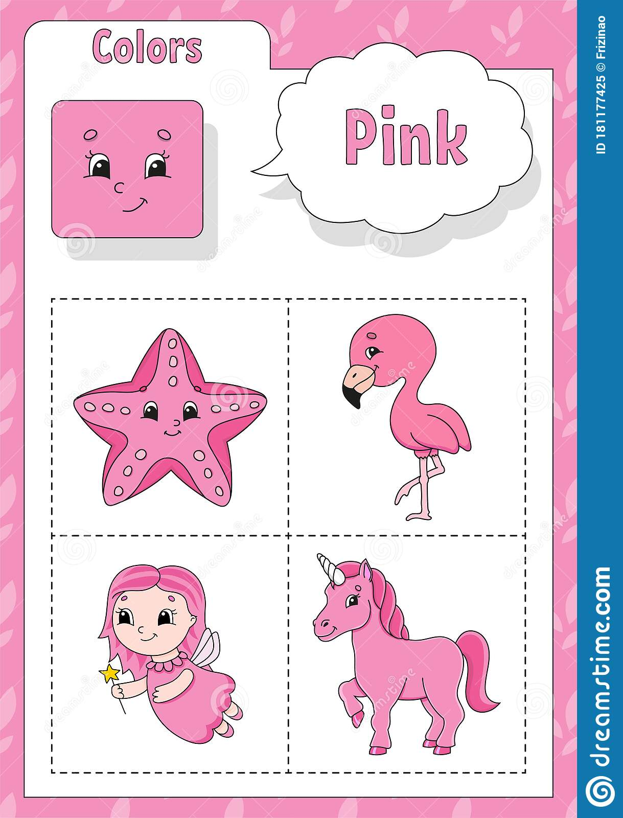 Learning Colors Pink Color Flashcard For Kids Cute