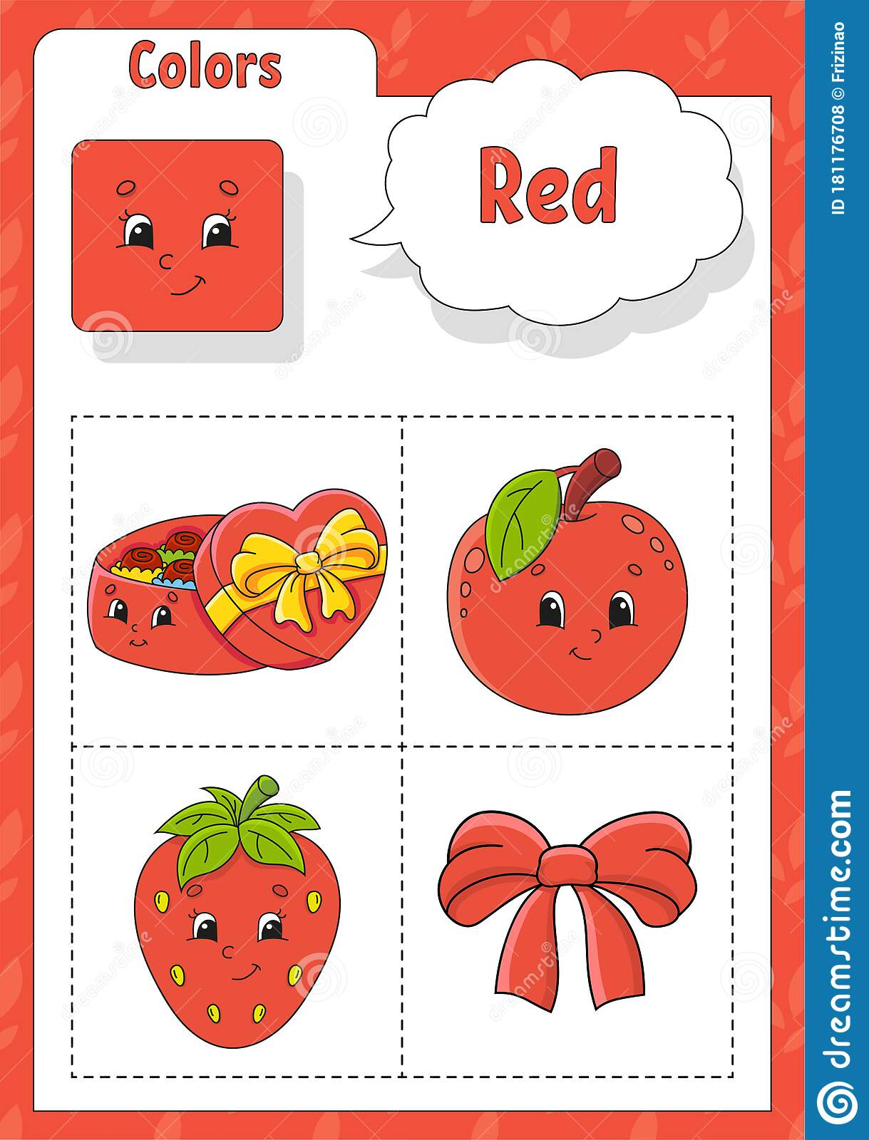 Learning Colors Red Color Flashcard For Kids Cute