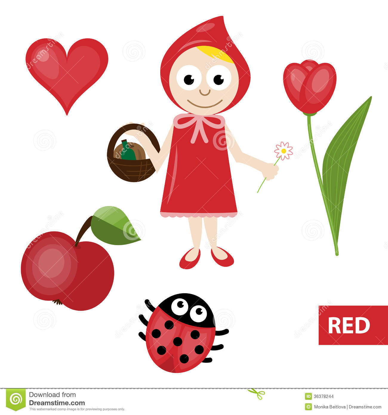 Learning Colors A Red Stock Illustration Illustration Of Lady
