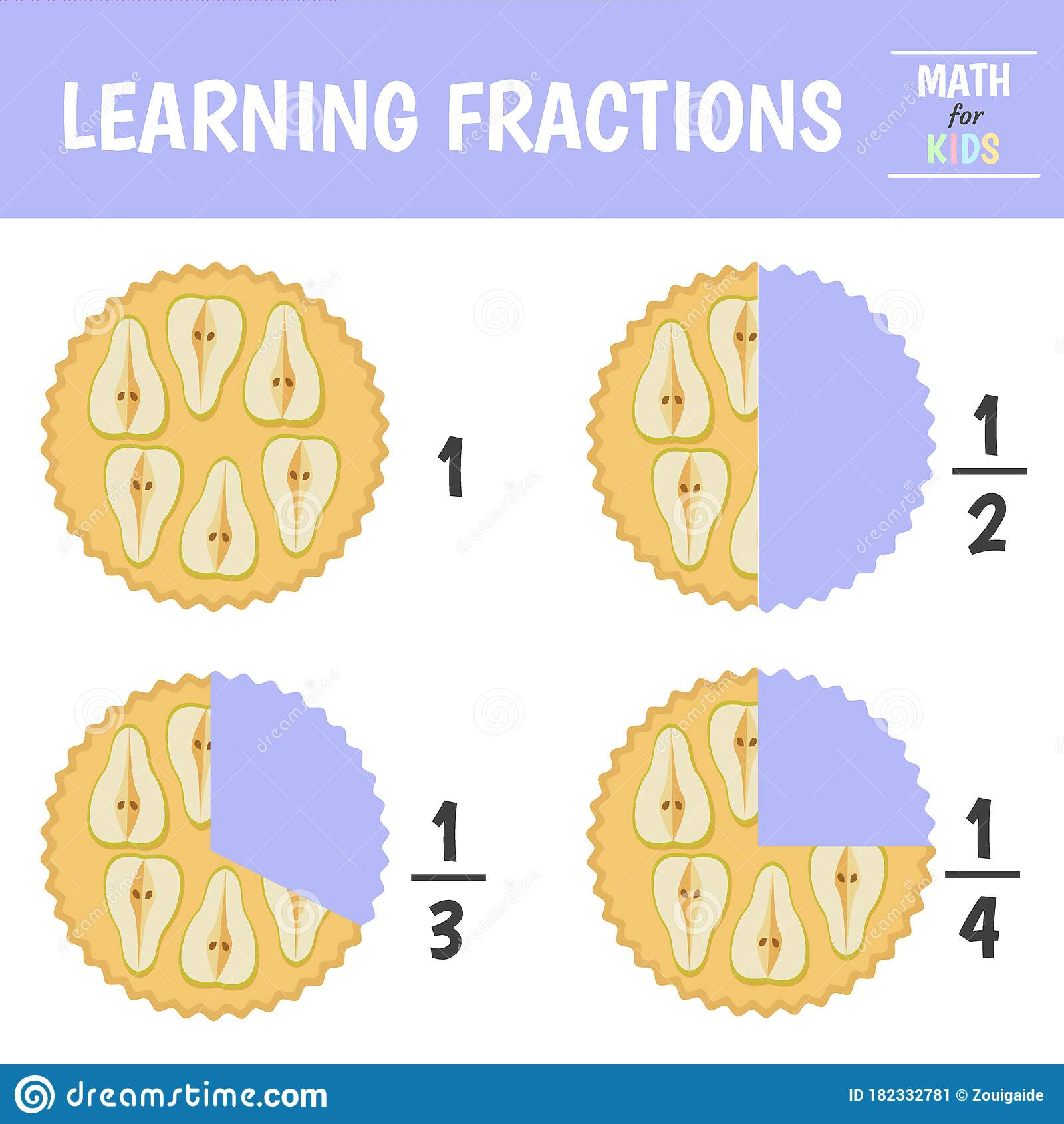 Learning Fractions Stock Vector Illustration Of