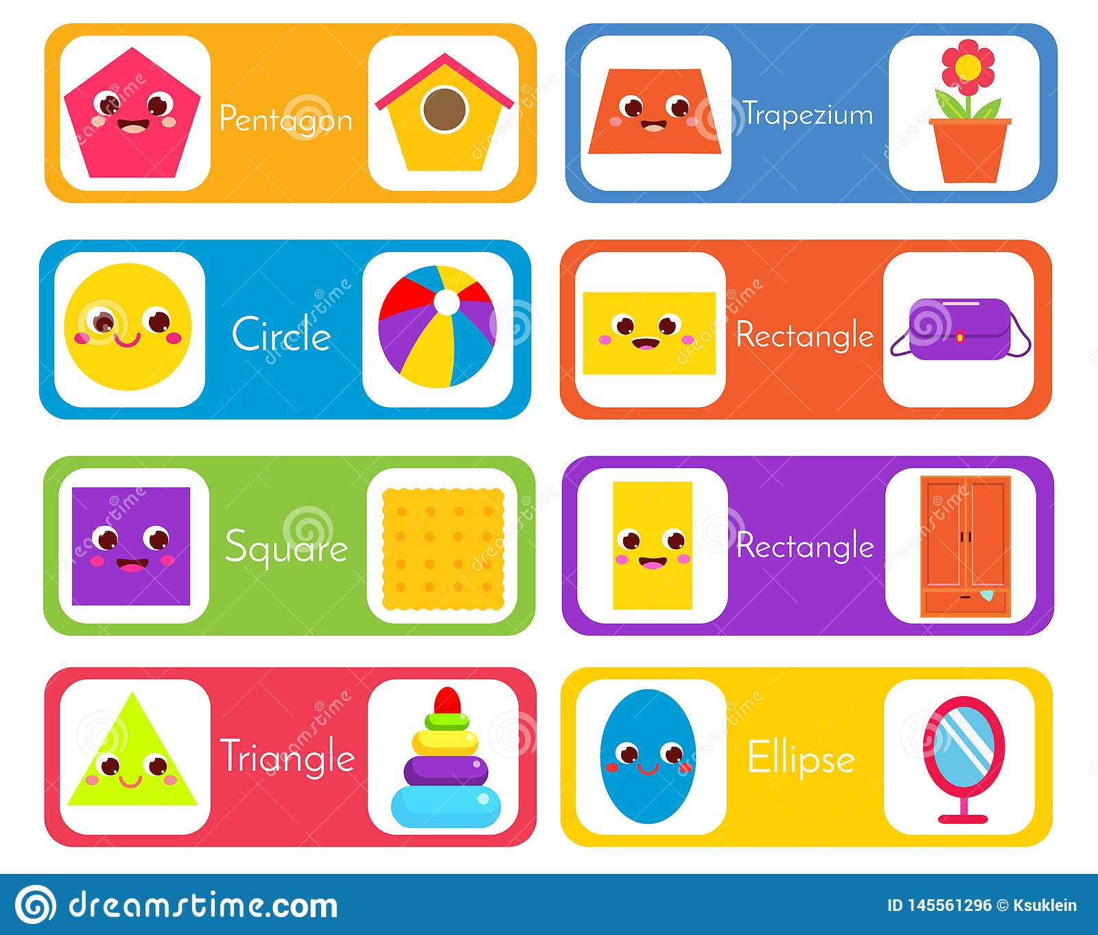 Learning Geometric Shapes For Kids Set Of Flashcards Wtih