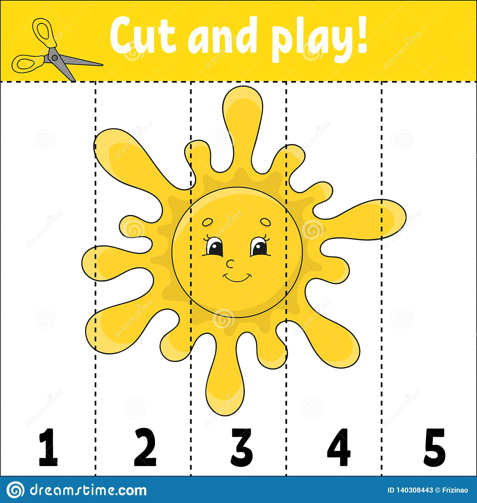 Learning Numbers Cut And Play Education Developing Worksheet Game For Kids Activity Page