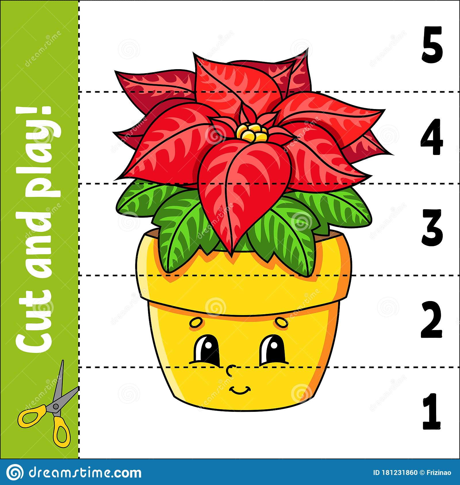 Learning Numbers 1 5 Cut And Play Poinsettia Flower
