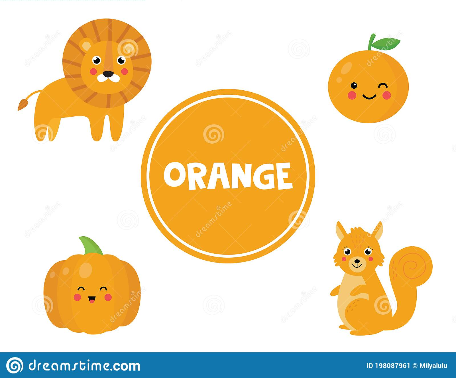 Learning Orange Color For Preschool Kids Educational