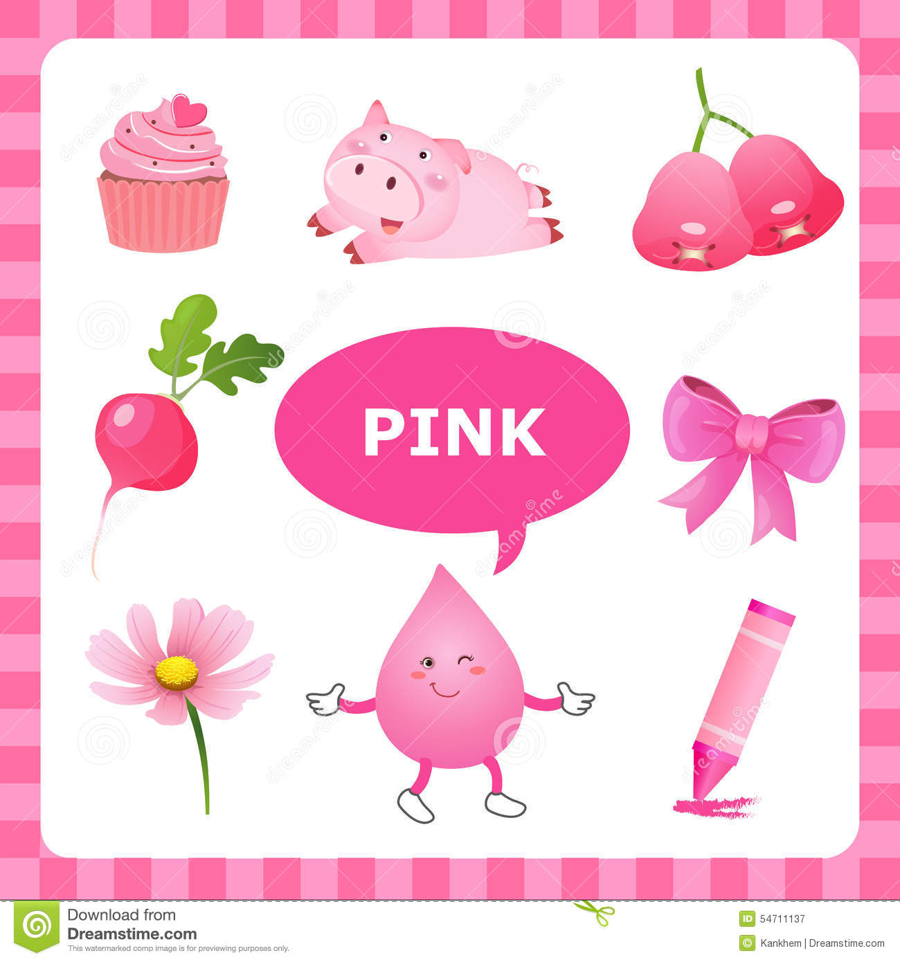 Learning Pink Color Stock Vector