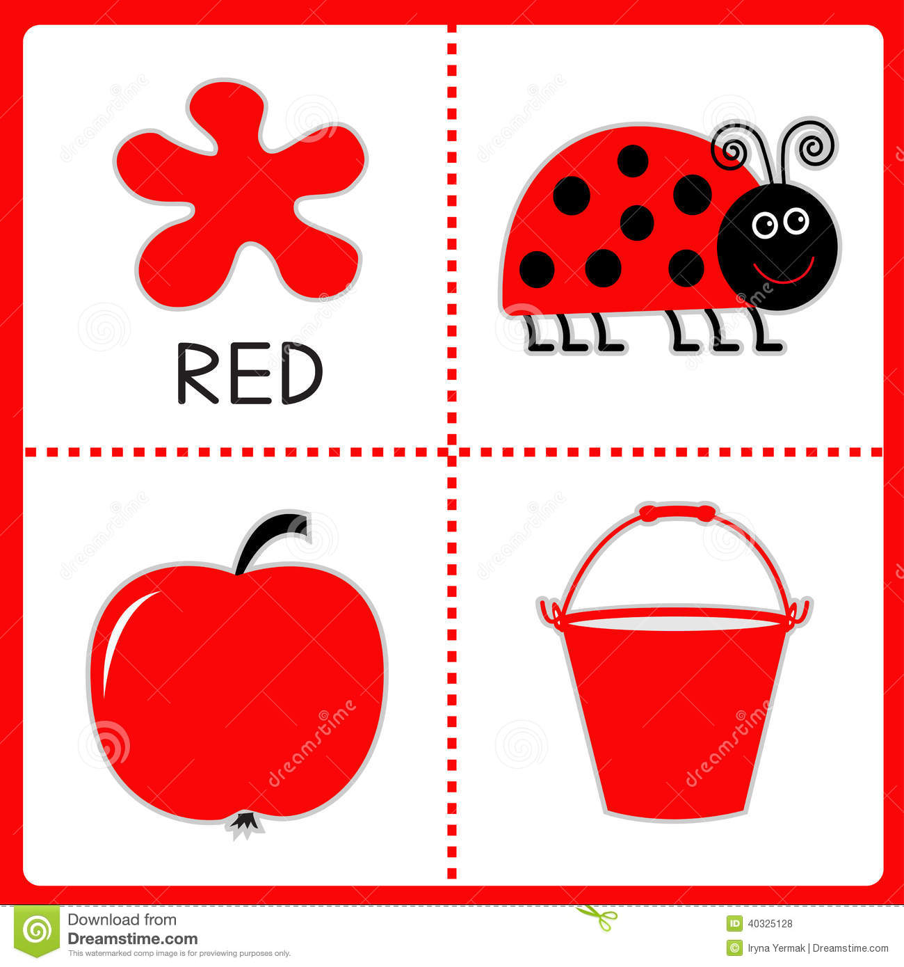 Learning Red Color Ladybug Apple And Bucket Educational