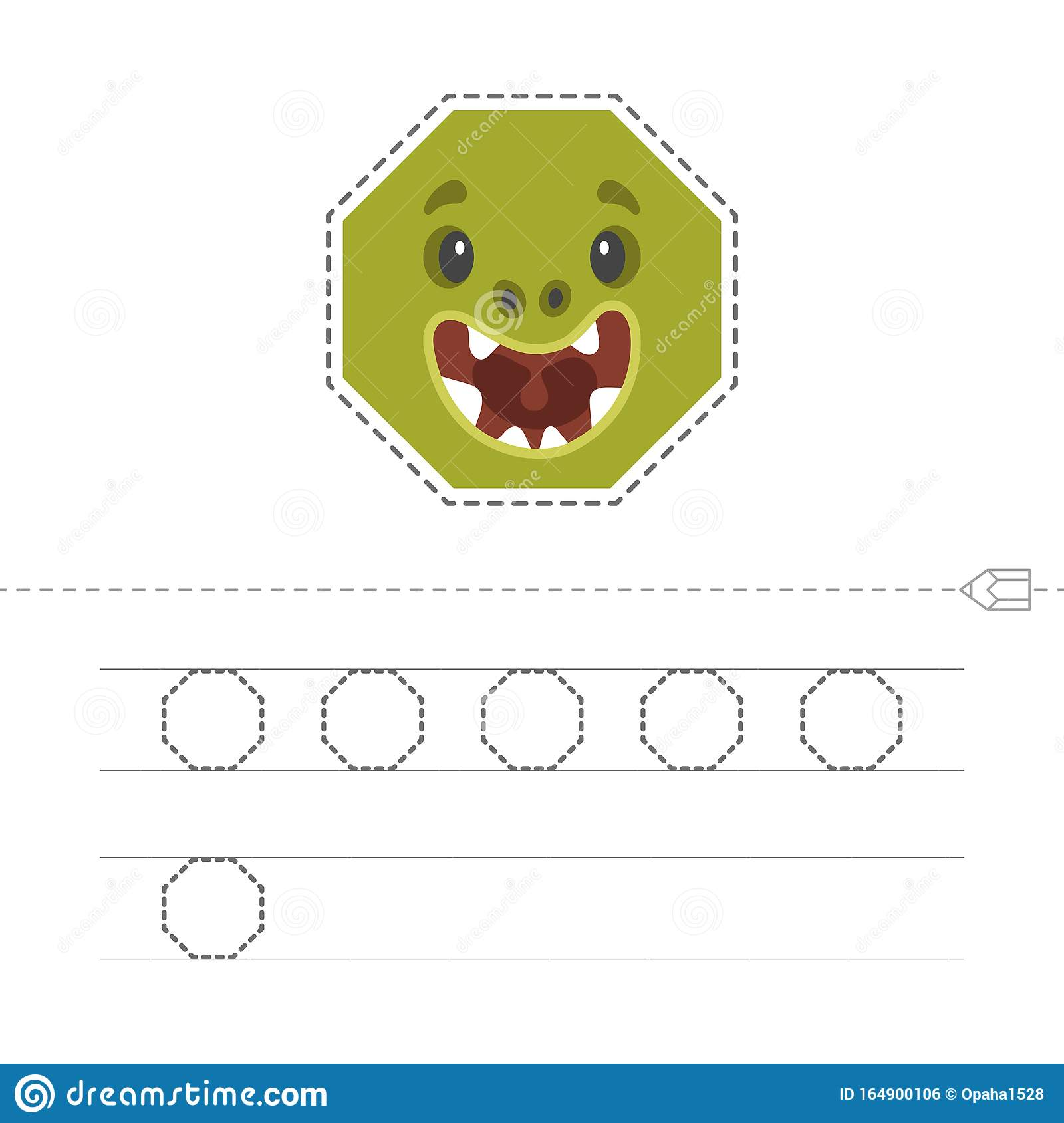 Learning To Draw A Octagon Stock Vector Illustration Of